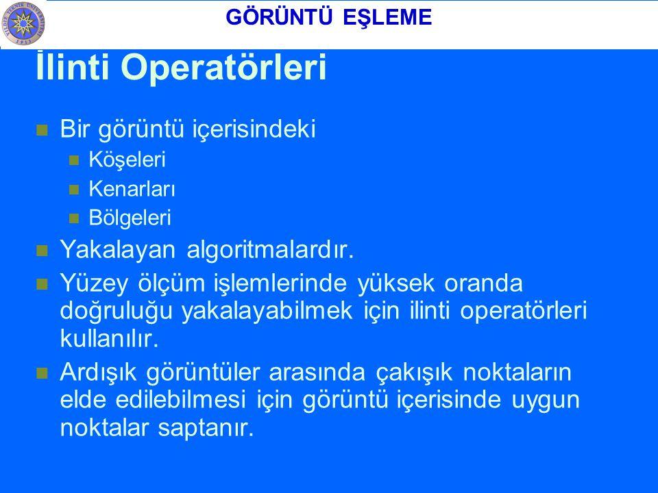 İlinti Operatörleri Bir görüntü içerisindeki Köşeleri Kenarları Bölgeleri Yakalayan algoritmalardır.