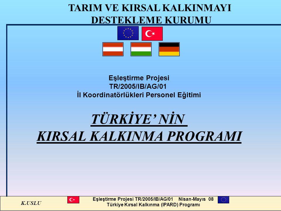K.USLU Eşleştirme Projesi TR/2005/IB/AG/01 Nisan-Mayıs 08 Türkiye Kırsal Kalkınma (IPARD) Programı Eşleştirme Projesi TR/2005/IB/AG/01 İl Koordinatörl