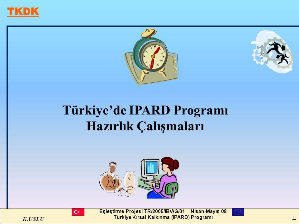 K.USLU Eşleştirme Projesi TR/2005/IB/AG/01 Nisan-Mayıs 08 Türkiye Kırsal Kalkınma (IPARD) Programı 11 Türkiye'de IPARD Programı Hazırlık Çalışmaları