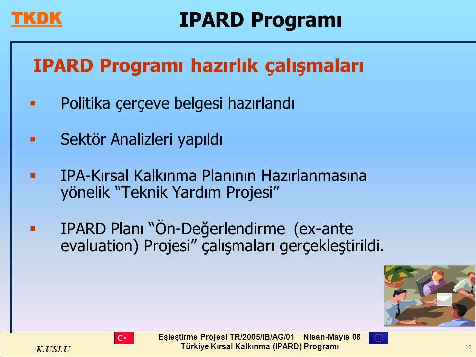 K.USLU Eşleştirme Projesi TR/2005/IB/AG/01 Nisan-Mayıs 08 Türkiye Kırsal Kalkınma (IPARD) Programı 12 IPARD Programı hazırlık çalışmaları  Politika ç