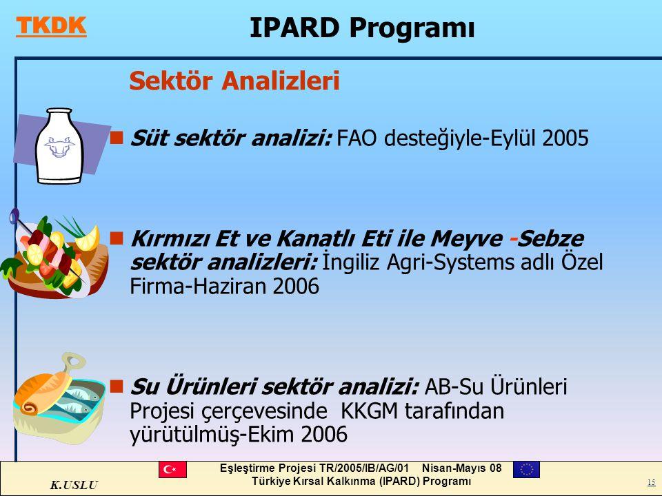 K.USLU Eşleştirme Projesi TR/2005/IB/AG/01 Nisan-Mayıs 08 Türkiye Kırsal Kalkınma (IPARD) Programı 15 Sektör Analizleri nSüt sektör analizi: FAO deste
