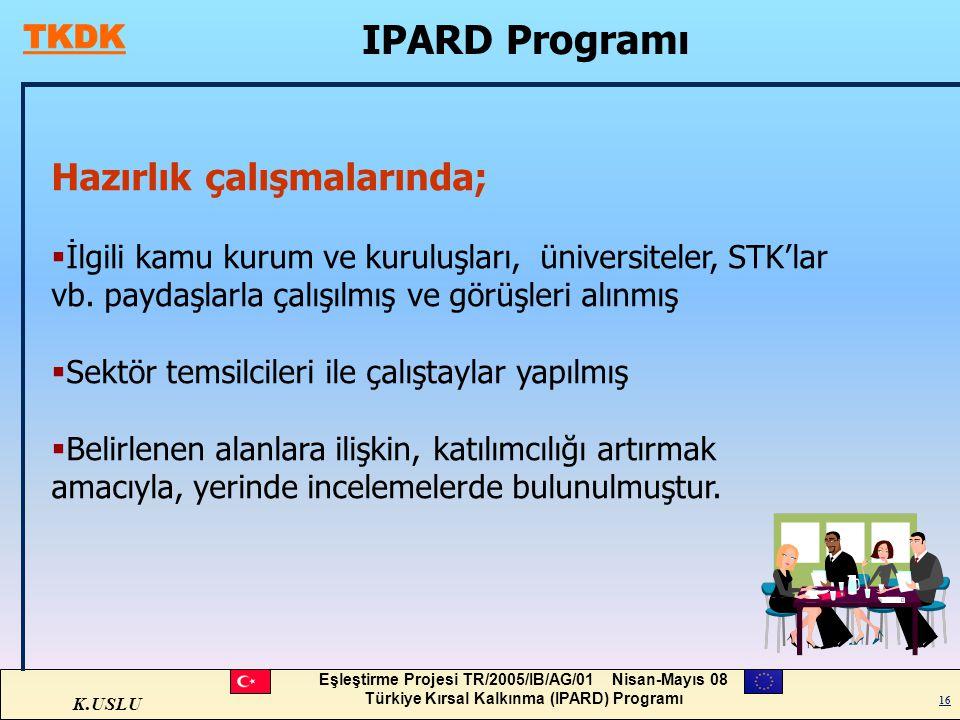 K.USLU Eşleştirme Projesi TR/2005/IB/AG/01 Nisan-Mayıs 08 Türkiye Kırsal Kalkınma (IPARD) Programı 16 IPARD Programı 16 Hazırlık çalışmalarında;  İlg