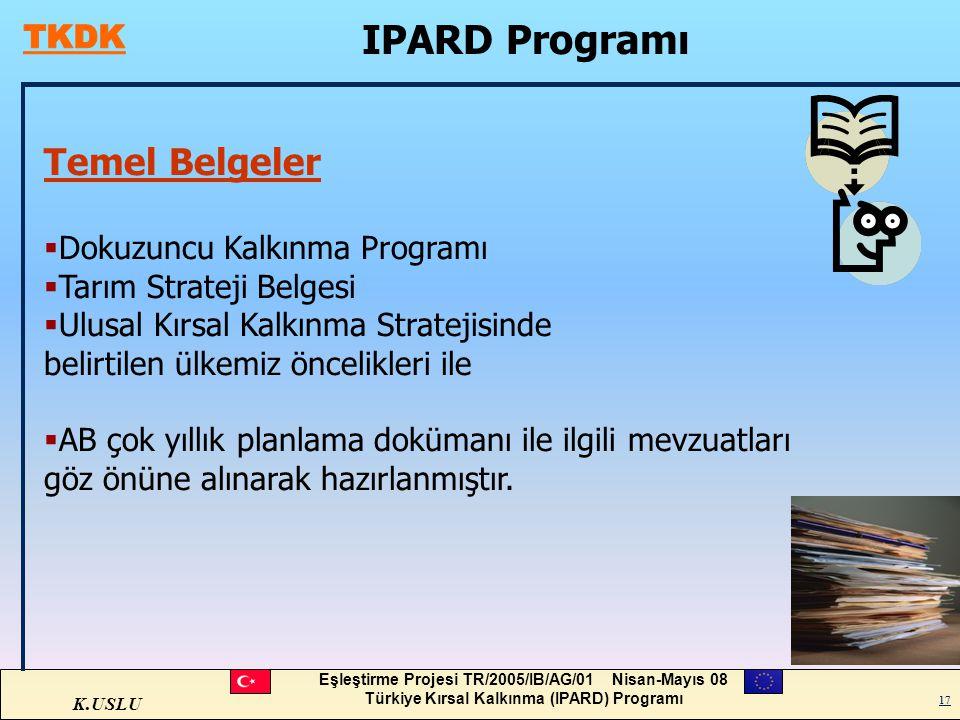 K.USLU Eşleştirme Projesi TR/2005/IB/AG/01 Nisan-Mayıs 08 Türkiye Kırsal Kalkınma (IPARD) Programı 17 IPARD Programı 17 Temel Belgeler  Dokuzuncu Kal