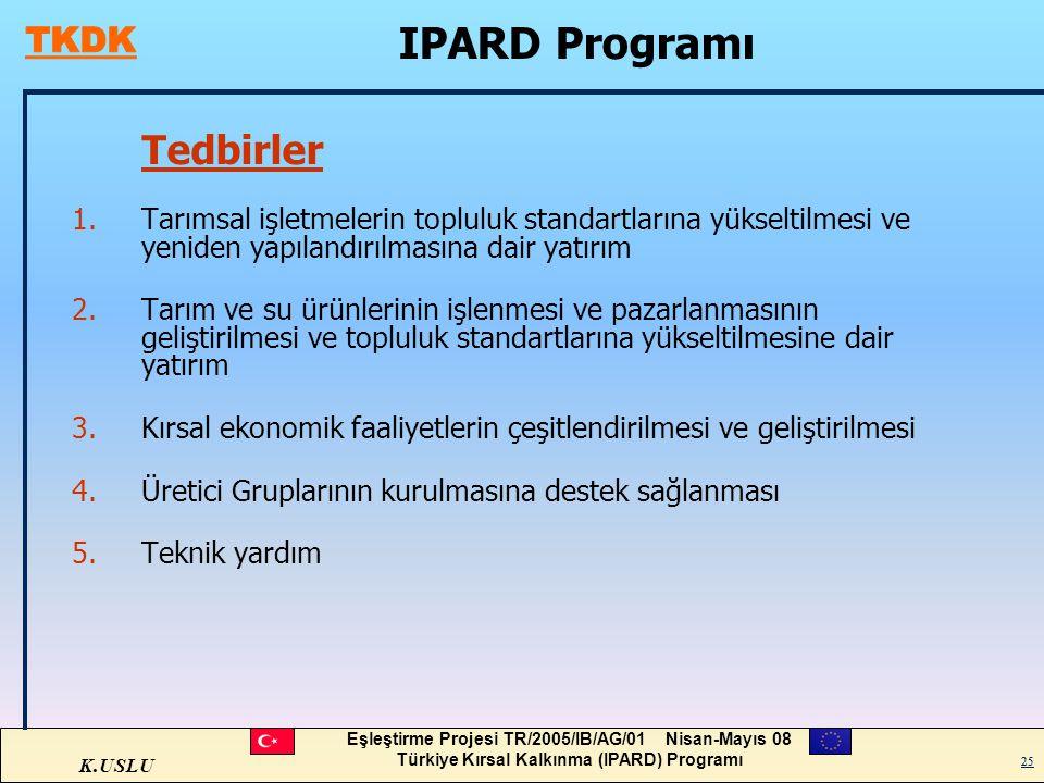 K.USLU Eşleştirme Projesi TR/2005/IB/AG/01 Nisan-Mayıs 08 Türkiye Kırsal Kalkınma (IPARD) Programı 25 Tedbirler 1.Tarımsal işletmelerin topluluk stand