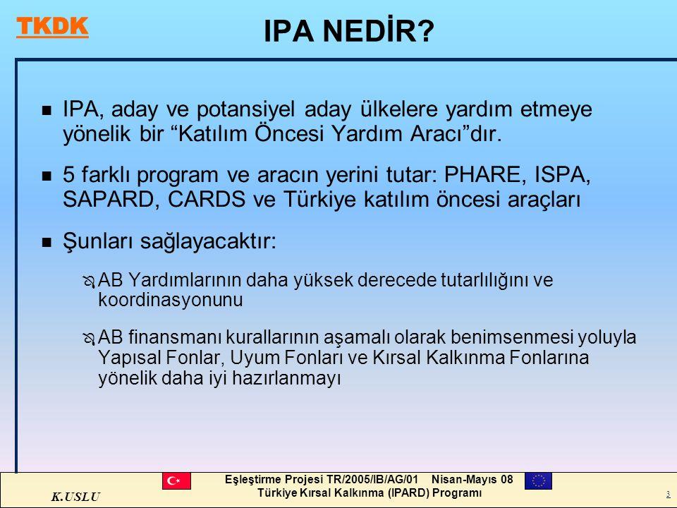 K.USLU Eşleştirme Projesi TR/2005/IB/AG/01 Nisan-Mayıs 08 Türkiye Kırsal Kalkınma (IPARD) Programı 3 IPA NEDİR? n IPA, aday ve potansiyel aday ülkeler