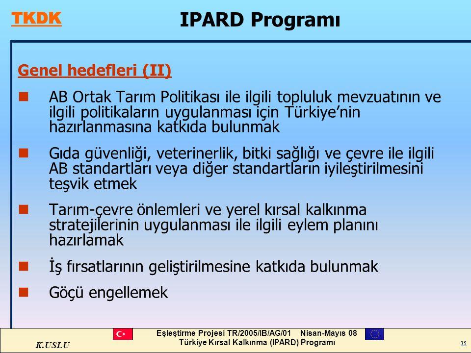 K.USLU Eşleştirme Projesi TR/2005/IB/AG/01 Nisan-Mayıs 08 Türkiye Kırsal Kalkınma (IPARD) Programı 35 Genel hedefleri (II) nAB Ortak Tarım Politikası