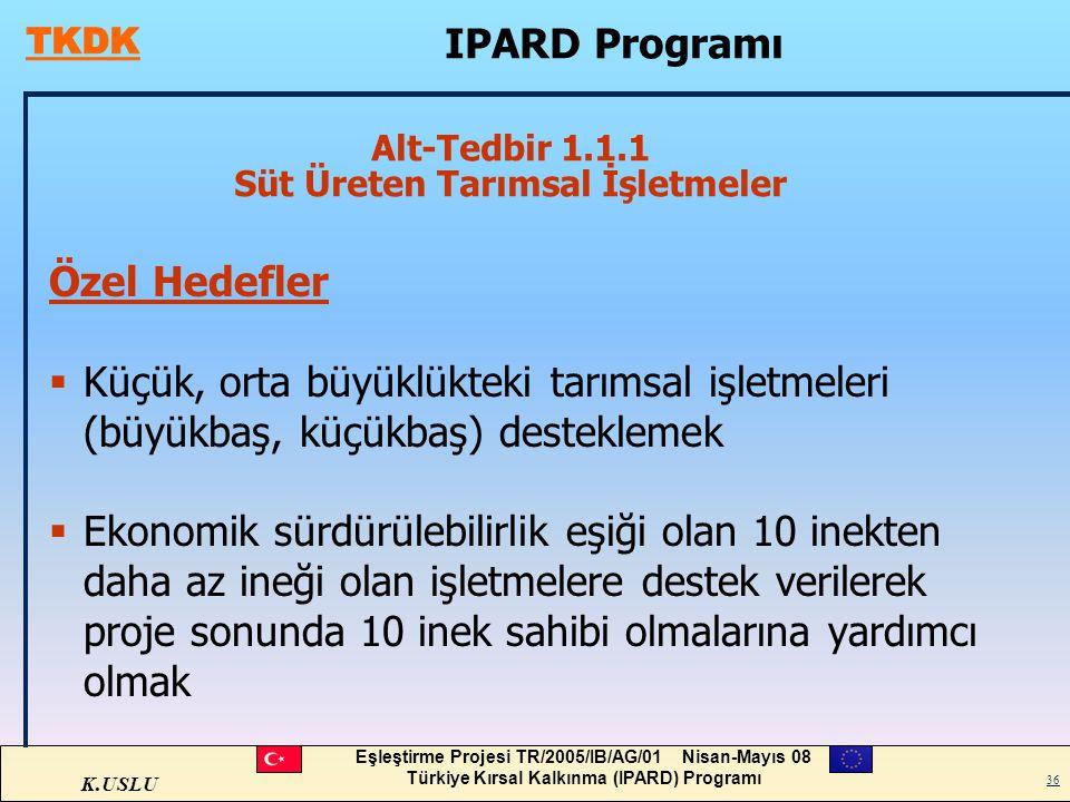 K.USLU Eşleştirme Projesi TR/2005/IB/AG/01 Nisan-Mayıs 08 Türkiye Kırsal Kalkınma (IPARD) Programı 36 Alt-Tedbir 1.1.1 Süt Üreten Tarımsal İşletmeler