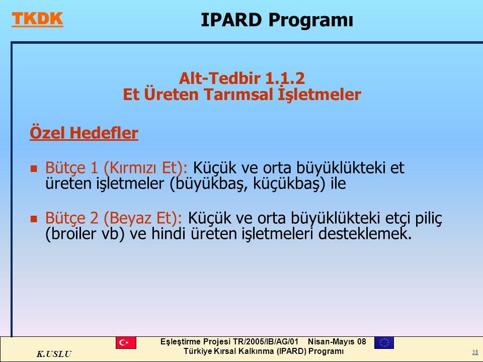 K.USLU Eşleştirme Projesi TR/2005/IB/AG/01 Nisan-Mayıs 08 Türkiye Kırsal Kalkınma (IPARD) Programı 38 Alt-Tedbir 1.1.2 Et Üreten Tarımsal İşletmeler Ö