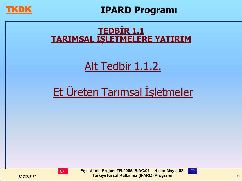 K.USLU Eşleştirme Projesi TR/2005/IB/AG/01 Nisan-Mayıs 08 Türkiye Kırsal Kalkınma (IPARD) Programı 39 TEDBİR 1.1 TARIMSAL İŞLETMELERE YATIRIM Alt Tedb