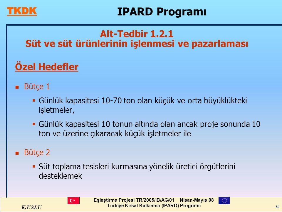 K.USLU Eşleştirme Projesi TR/2005/IB/AG/01 Nisan-Mayıs 08 Türkiye Kırsal Kalkınma (IPARD) Programı 40 Özel Hedefler n Bütçe 1  Günlük kapasitesi 10-7