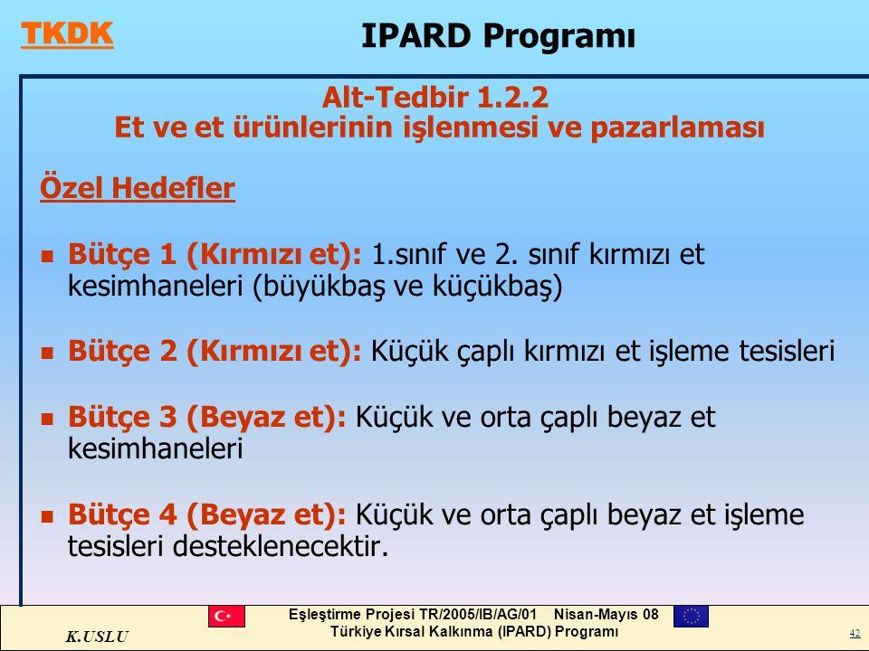 K.USLU Eşleştirme Projesi TR/2005/IB/AG/01 Nisan-Mayıs 08 Türkiye Kırsal Kalkınma (IPARD) Programı 42 Özel Hedefler n Bütçe 1 (Kırmızı et): 1.sınıf ve