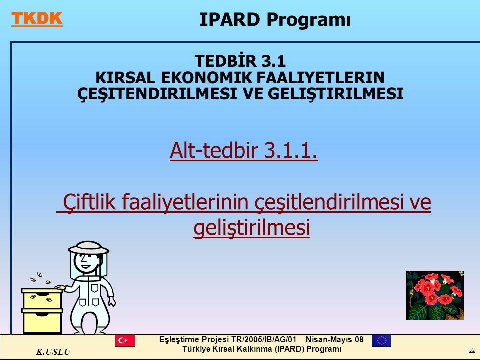 K.USLU Eşleştirme Projesi TR/2005/IB/AG/01 Nisan-Mayıs 08 Türkiye Kırsal Kalkınma (IPARD) Programı 52 TEDBİR 3.1 KIRSAL EKONOMIK FAALIYETLERIN ÇEŞITEN