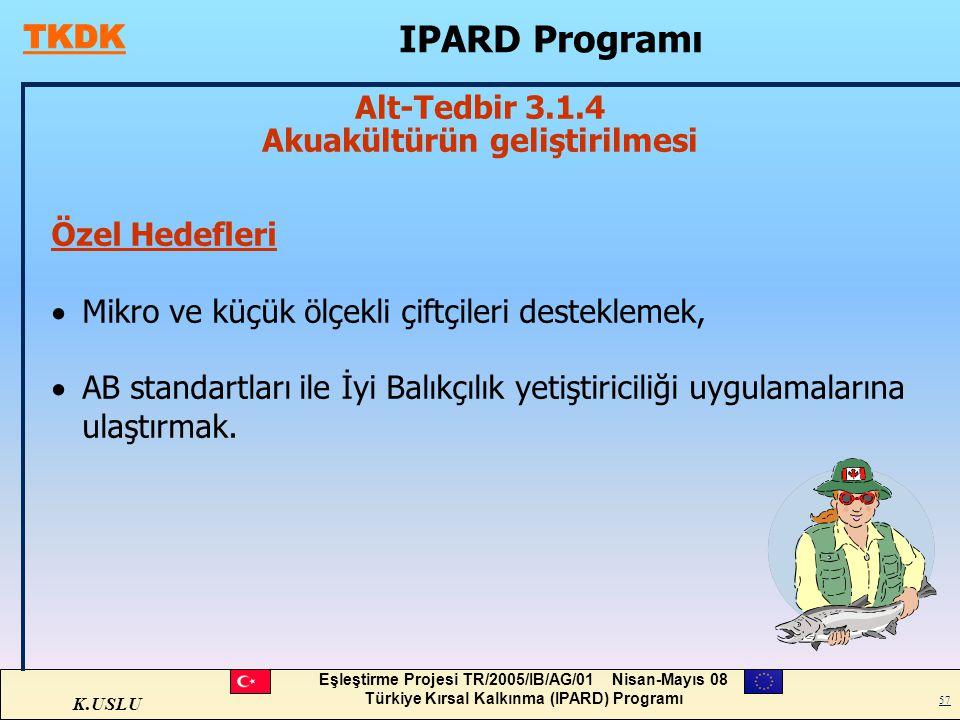 K.USLU Eşleştirme Projesi TR/2005/IB/AG/01 Nisan-Mayıs 08 Türkiye Kırsal Kalkınma (IPARD) Programı 57 Özel Hedefleri  Mikro ve küçük ölçekli çiftçile