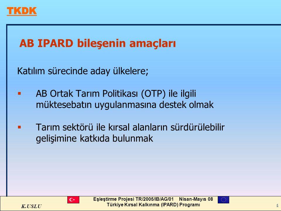 K.USLU Eşleştirme Projesi TR/2005/IB/AG/01 Nisan-Mayıs 08 Türkiye Kırsal Kalkınma (IPARD) Programı 6 AB IPARD bileşenin amaçları Katılım sürecinde ada