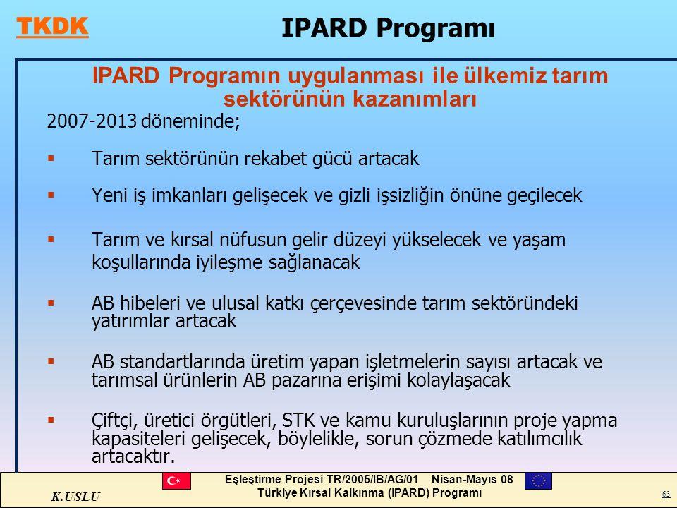 K.USLU Eşleştirme Projesi TR/2005/IB/AG/01 Nisan-Mayıs 08 Türkiye Kırsal Kalkınma (IPARD) Programı 63 IPARD Programın uygulanması ile ülkemiz tarım se