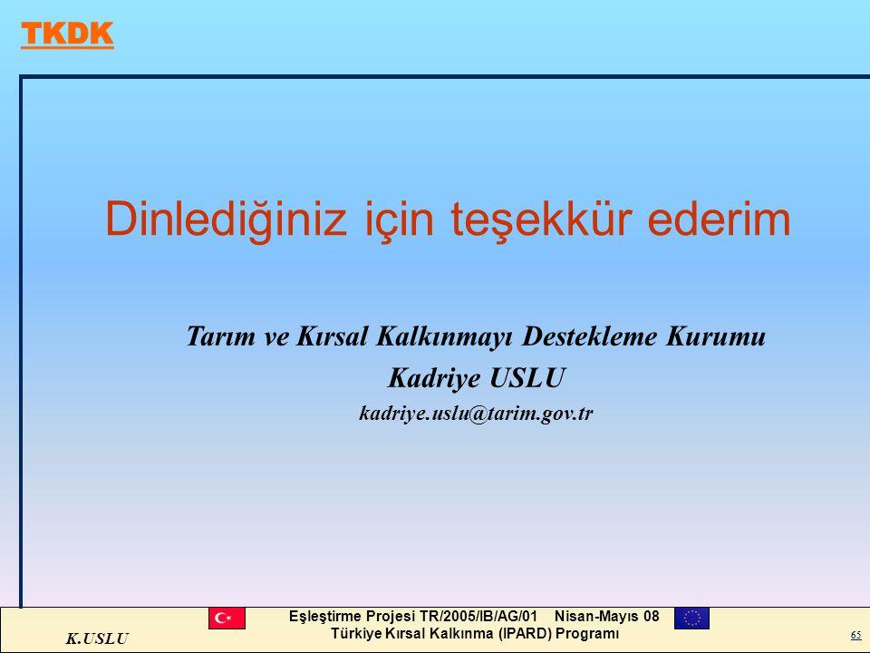 K.USLU Eşleştirme Projesi TR/2005/IB/AG/01 Nisan-Mayıs 08 Türkiye Kırsal Kalkınma (IPARD) Programı 65 Dinlediğiniz için teşekkür ederim 65 Tarım ve Kı