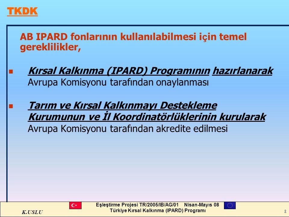 K.USLU Eşleştirme Projesi TR/2005/IB/AG/01 Nisan-Mayıs 08 Türkiye Kırsal Kalkınma (IPARD) Programı 9 AB IPARD fonlarının kullanılabilmesi i ç in temel