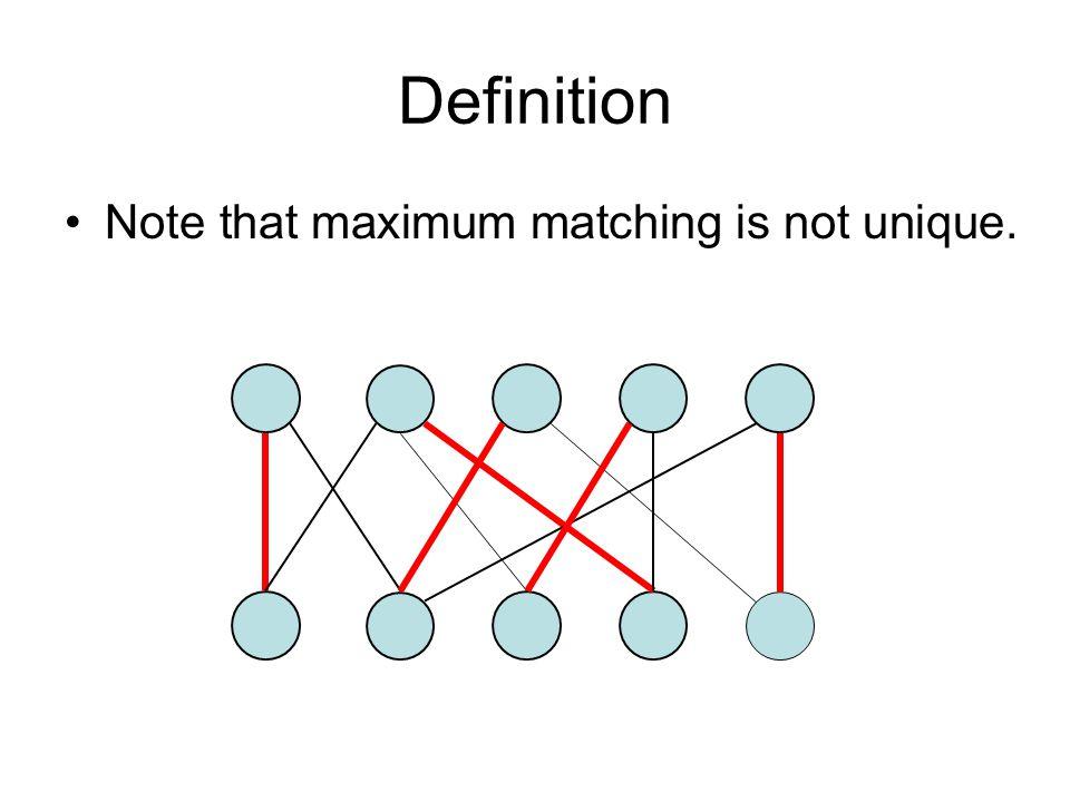 Definition Note that maximum matching is not unique.