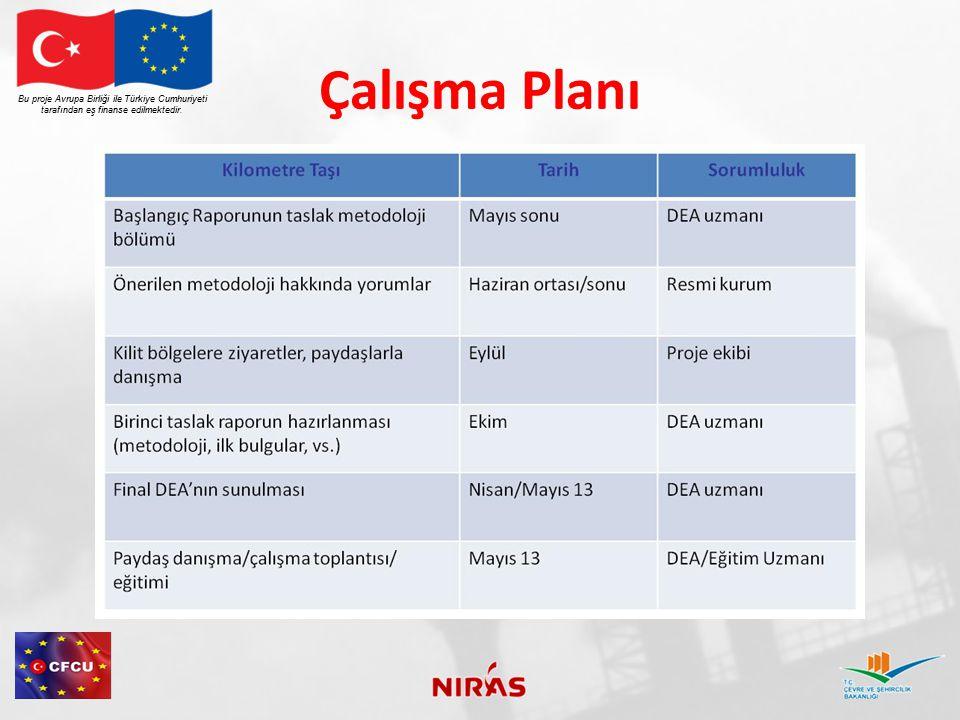 Çalışma Planı Bu proje Avrupa Birliği ile Türkiye Cumhuriyeti tarafından eş finanse edilmektedir.