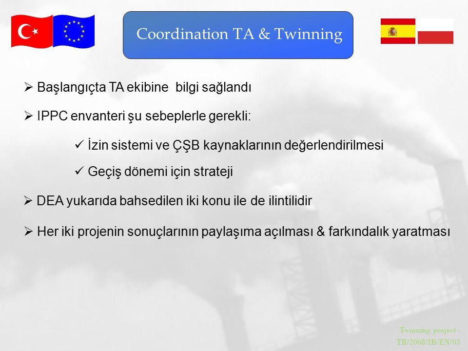 Twinning project - TR/2008/IB/EN/03 Coordination TA & Twinning  DEA yukarıda bahsedilen iki konu ile de ilintilidir  IPPC envanteri şu sebeplerle ge