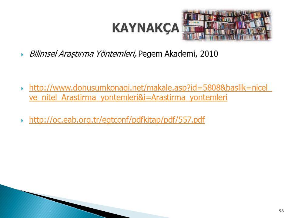  Bilimsel Araştırma Yöntemleri, Pegem Akademi, 2010  http://www.donusumkonagi.net/makale.asp?id=5808&baslik=nicel_ ve_nitel_Arastirma_yontemleri&i=A
