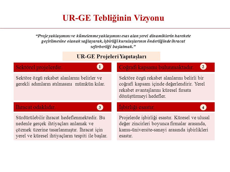 UR-GE Tebliğinin Vizyonu Proje yaklaşımını ve kümelenme yaklaşımını esas alan yerel dinamiklerin harekete geçirilmesine olanak sağlayarak, işbirliği kuruluşlarının önderliğinde ihracat seferberliği başlatmak. Sektörel projelerdir.