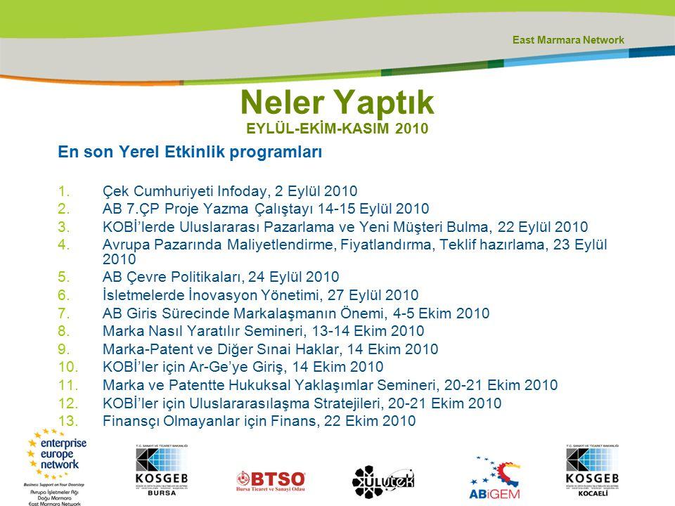 East Marmara Network En son Yerel Etkinlik programları 1.Çek Cumhuriyeti Infoday, 2 Eylül 2010 2.AB 7.ÇP Proje Yazma Çalıştayı 14-15 Eylül 2010 3.KOBİ