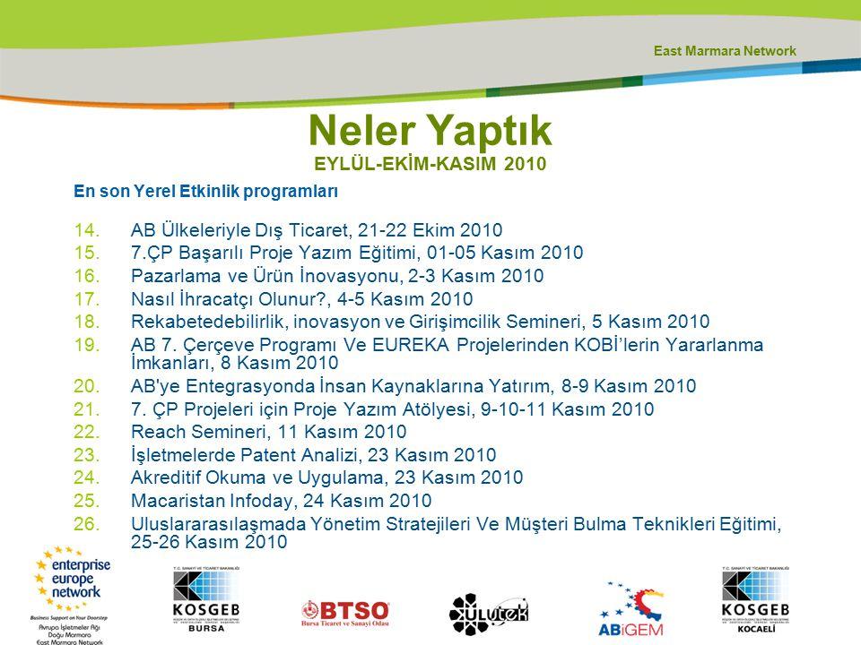 East Marmara Network En son Yerel Etkinlik programları 14.AB Ülkeleriyle Dış Ticaret, 21-22 Ekim 2010 15.7.ÇP Başarılı Proje Yazım Eğitimi, 01-05 Kası