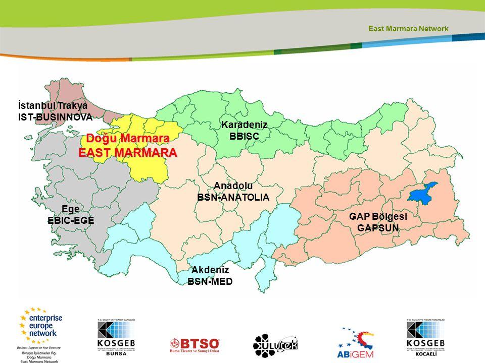 Doğu Marmara EAST MARMARA Karadeniz BBISC Anadolu BSN-ANATOLIA İstanbul Trakya IST-BUSINNOVA Ege EBIC-EGE Akdeniz BSN-MED GAP Bölgesi GAPSUN