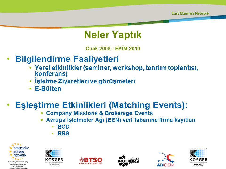 East Marmara Network Neler Yaptık Ocak 2008 - EKİM 2010 Bilgilendirme Faaliyetleri Yerel etkinlikler (seminer, workshop, tanıtım toplantısı, konferans) İşletme Ziyaretleri ve görüşmeleri E-Bülten Eşleştirme Etkinlikleri (Matching Events):  Company Missions & Brokerage Events  Avrupa İşletmeler Ağı (EEN) veri tabanına firma kayıtları BCD BBS