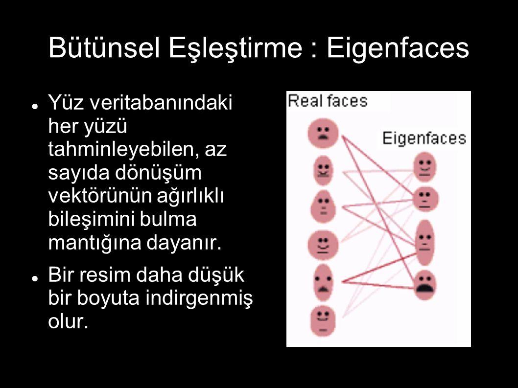 Bütünsel Eşleştirme : Eigenfaces Yüz veritabanındaki her yüzü tahminleyebilen, az sayıda dönüşüm vektörünün ağırlıklı bileşimini bulma mantığına dayanır.