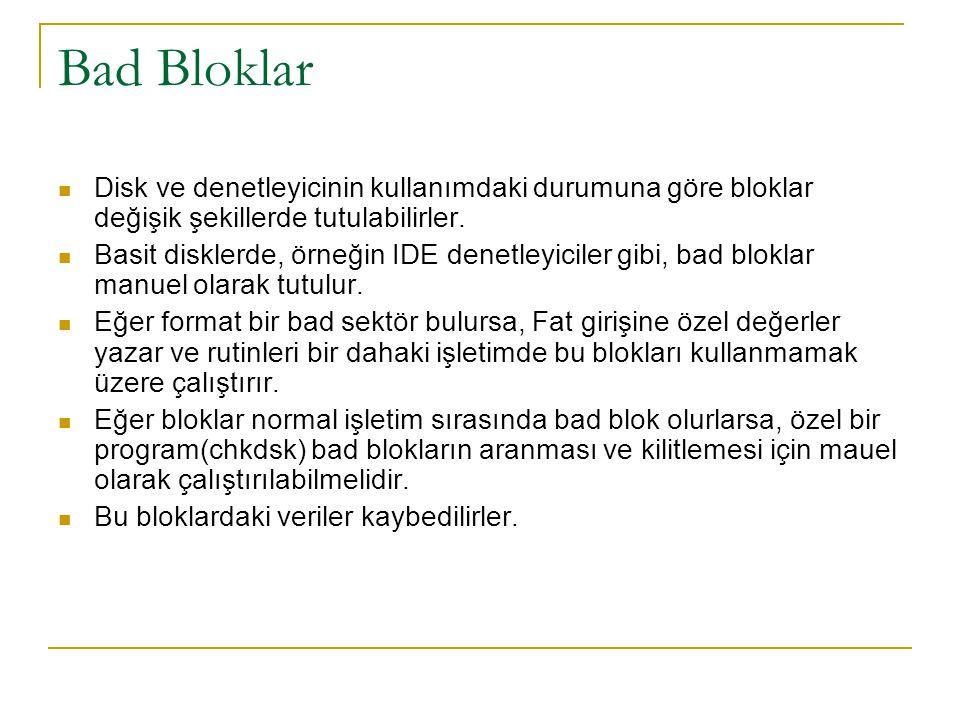 Bad Bloklar Disk ve denetleyicinin kullanımdaki durumuna göre bloklar değişik şekillerde tutulabilirler.