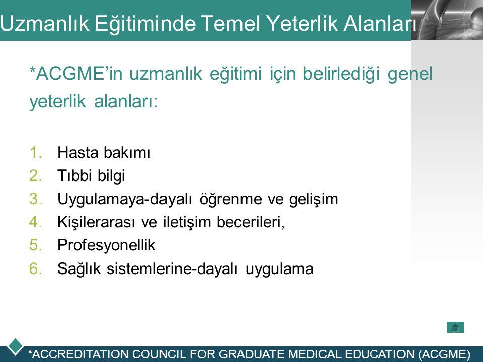LOGO Uzmanlık Eğitiminde Temel Yeterlik Alanları *ACGME'in uzmanlık eğitimi için belirlediği genel yeterlik alanları:  Hasta bakımı  Tıbbi bilgi 