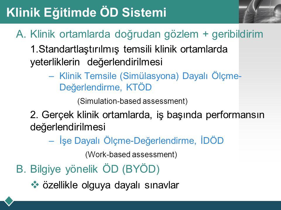 LOGO Klinik Eğitimde ÖD Sistemi  Klinik ortamlarda doğrudan gözlem + geribildirim 1.Standartlaştırılmış temsili klinik ortamlarda yeterliklerin değe