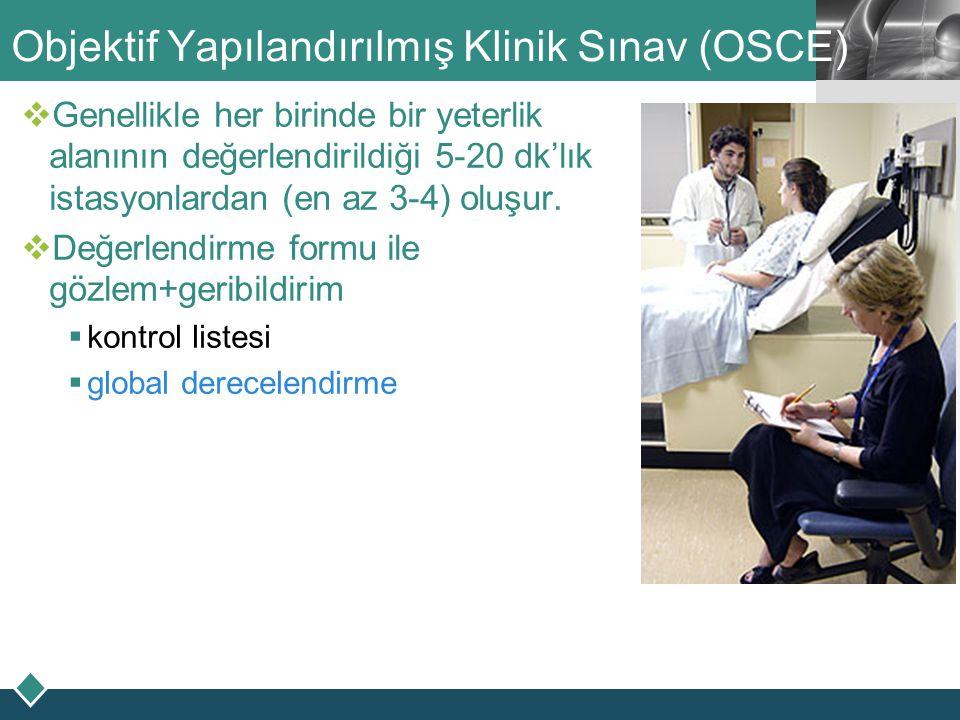 LOGO Objektif Yapılandırılmış Klinik Sınav (OSCE)  Genellikle her birinde bir yeterlik alanının değerlendirildiği 5-20 dk'lık istasyonlardan (en az 3