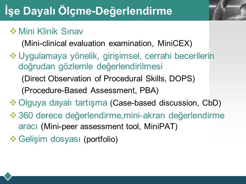 LOGO İşe Dayalı Ölçme-Değerlendirme  Mini Klinik Sınav (Mini-clinical evaluation examination, MiniCEX)  Uygulamaya yönelik, girişimsel, cerrahi bece