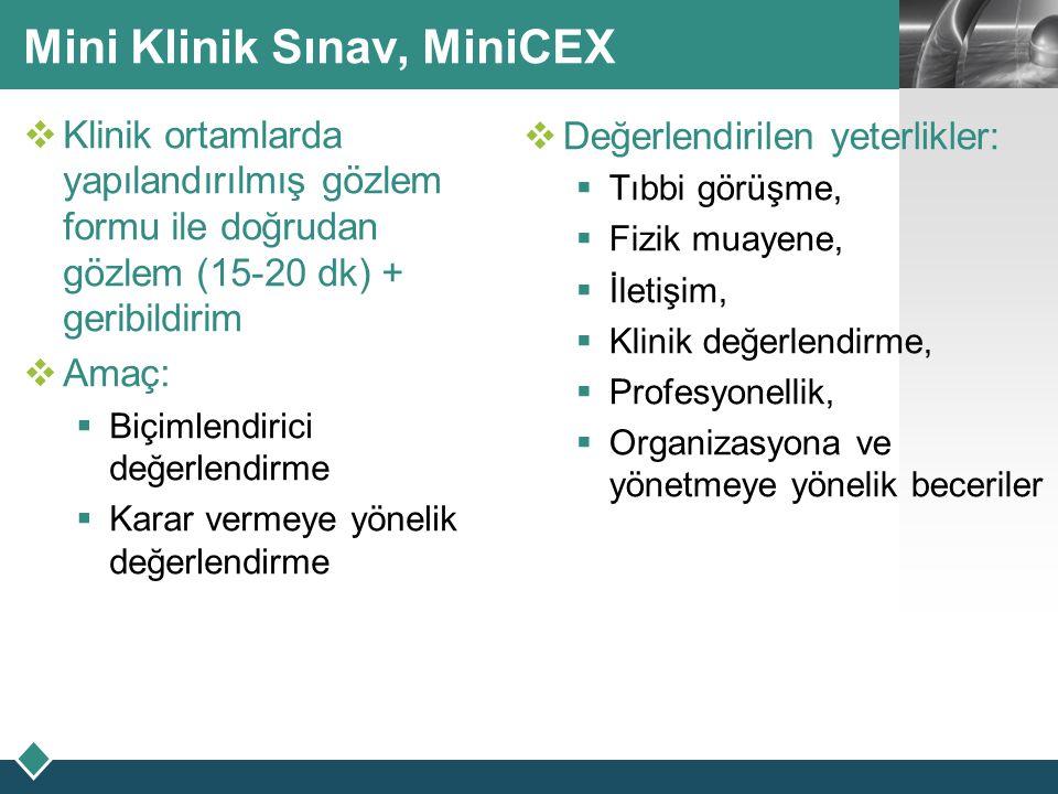 LOGO Mini Klinik Sınav, MiniCEX  Klinik ortamlarda yapılandırılmış gözlem formu ile doğrudan gözlem (15-20 dk) + geribildirim  Amaç:  Biçimlendiric
