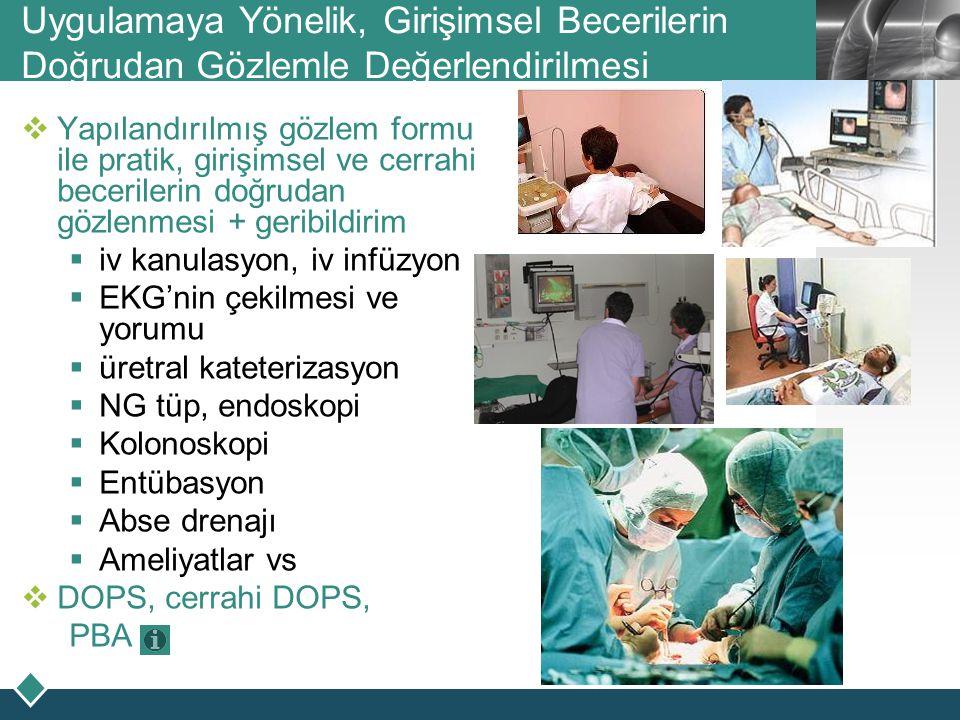 LOGO Uygulamaya Yönelik, Girişimsel Becerilerin Doğrudan Gözlemle Değerlendirilmesi  Yapılandırılmış gözlem formu ile pratik, girişimsel ve cerrahi b
