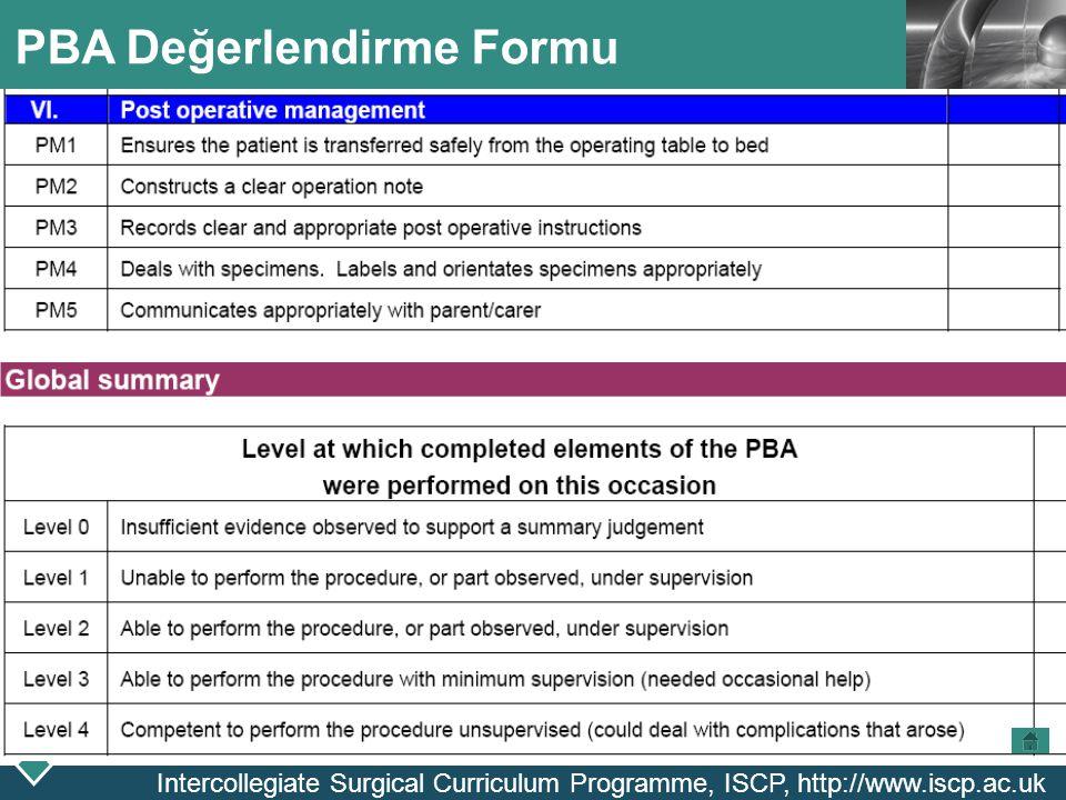 LOGO PBA Değerlendirme Formu Intercollegiate Surgical Curriculum Programme, ISCP, http://www.iscp.ac.uk