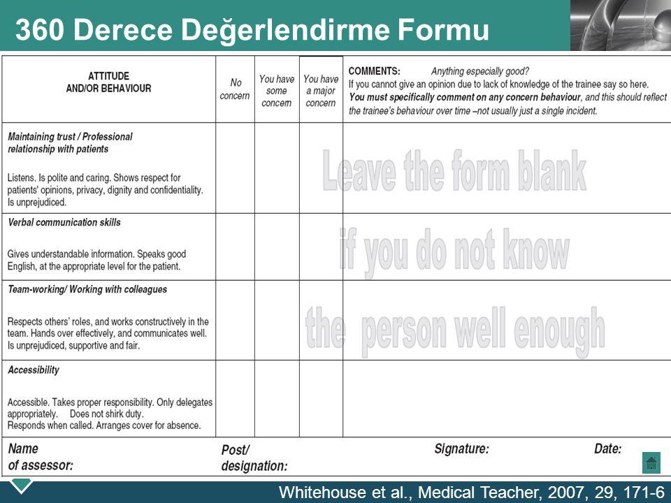 LOGO 360 Derece Değerlendirme Formu Whitehouse et al., Medical Teacher, 2007, 29, 171-6
