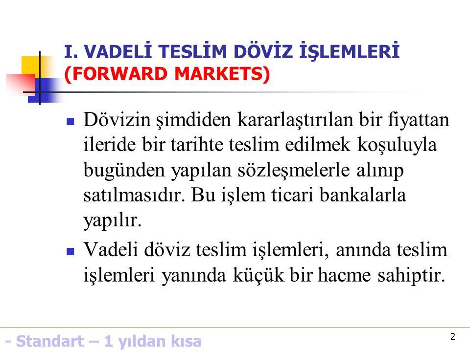 33 VIII.FAİZ ORANI ARBİTRAJI Arbitraj mekanizmasının kısa vadeli mali piyasaları uygulanmasıdır.