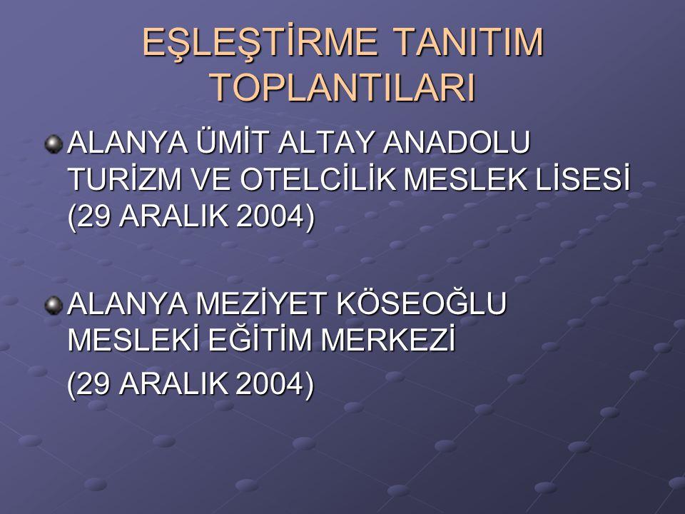 EŞLEŞTİRME TANITIM TOPLANTILARI ALANYA ÜMİT ALTAY ANADOLU TURİZM VE OTELCİLİK MESLEK LİSESİ (29 ARALIK 2004) ALANYA MEZİYET KÖSEOĞLU MESLEKİ EĞİTİM ME
