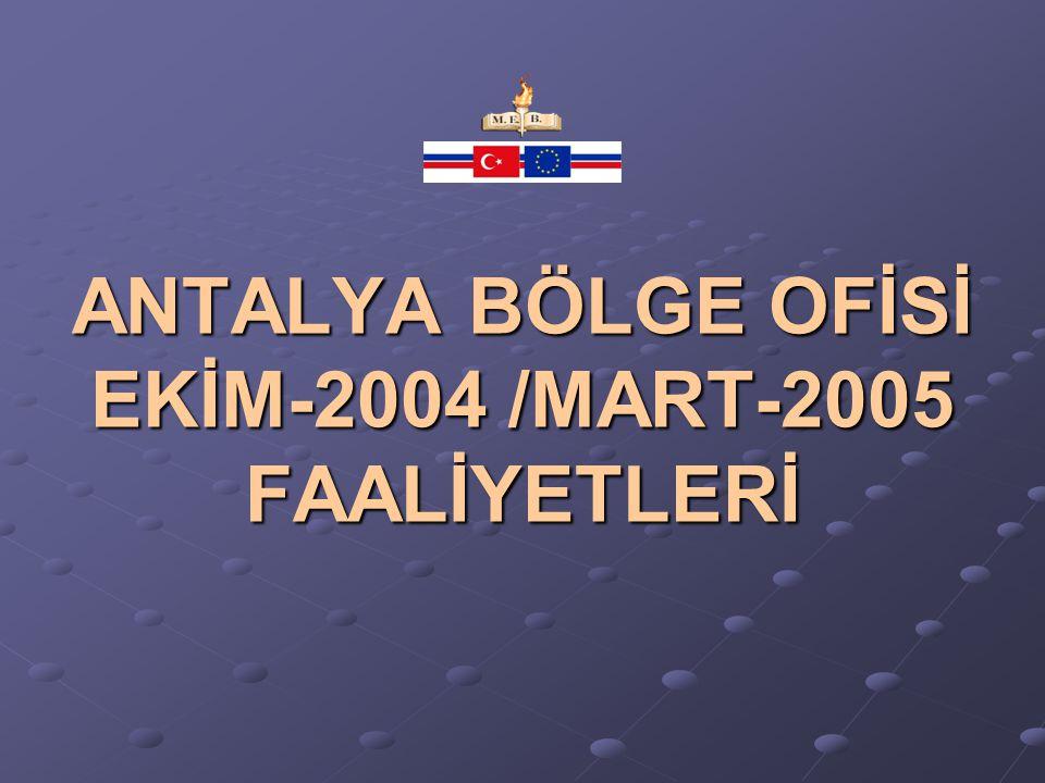 ANTALYA I.BDK (BÖLGE DANIŞMA KURULU) TOPLANTISI 01 EKİM 2004 BÖLGEMİZ I.BDK TOPLANTISI GERÇEKLEŞTİRİLDİ.