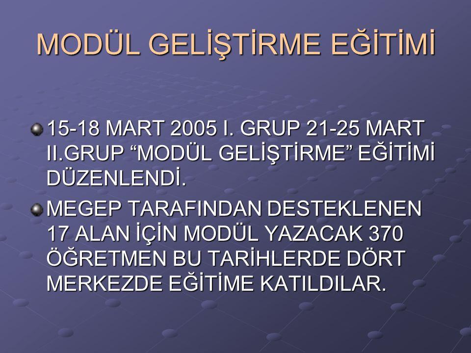"""MODÜL GELİŞTİRME EĞİTİMİ 15-18 MART 2005 I. GRUP 21-25 MART II.GRUP """"MODÜL GELİŞTİRME"""" EĞİTİMİ DÜZENLENDİ. MEGEP TARAFINDAN DESTEKLENEN 17 ALAN İÇİN M"""
