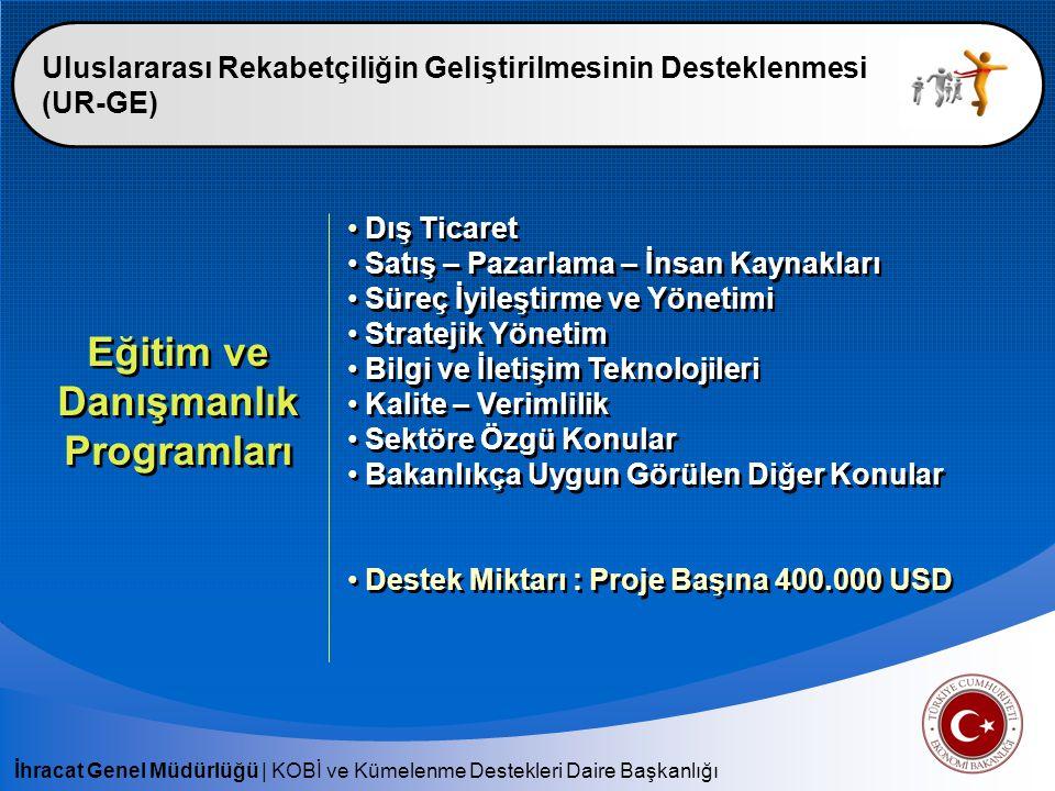 İhracat Genel Müdürlüğü   KOBİ ve Kümelenme Destekleri Daire Başkanlığı Uluslararası Rekabetçiliğin Geliştirilmesinin Desteklenmesi (UR-GE) Yurt Dışı Pazarlama Destek Kapsamı : Yurtdışı Pazarlama Programları - Ortak pazar araştırmaları - Pazar ziyaretleri - Ticaret heyetleri - Yurtdışı fuar ziyaretleri - Eşleştirme - Küme tanıtım faaliyetleri Destek Miktarı : - Program Başına 150.000 USD - En fazla 5 adet Destek Kapsamı : Yurtdışı Pazarlama Programları - Ortak pazar araştırmaları - Pazar ziyaretleri - Ticaret heyetleri - Yurtdışı fuar ziyaretleri - Eşleştirme - Küme tanıtım faaliyetleri Destek Miktarı : - Program Başına 150.000 USD - En fazla 5 adet