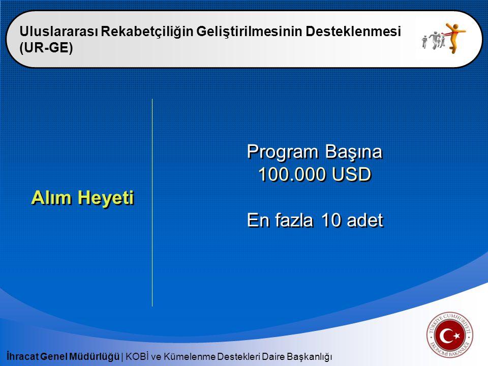 İhracat Genel Müdürlüğü   KOBİ ve Kümelenme Destekleri Daire Başkanlığı Uluslararası Rekabetçiliğin Geliştirilmesinin Desteklenmesi (UR-GE) Yurt Dışı Pazarlama ve Alım Heyeti Destek Kapsamı : - Ulaşım Giderleri - Konaklama Giderleri - Tanıtım ve Organizasyon Giderleri Destek Kapsamı : - Ulaşım Giderleri - Konaklama Giderleri - Tanıtım ve Organizasyon Giderleri