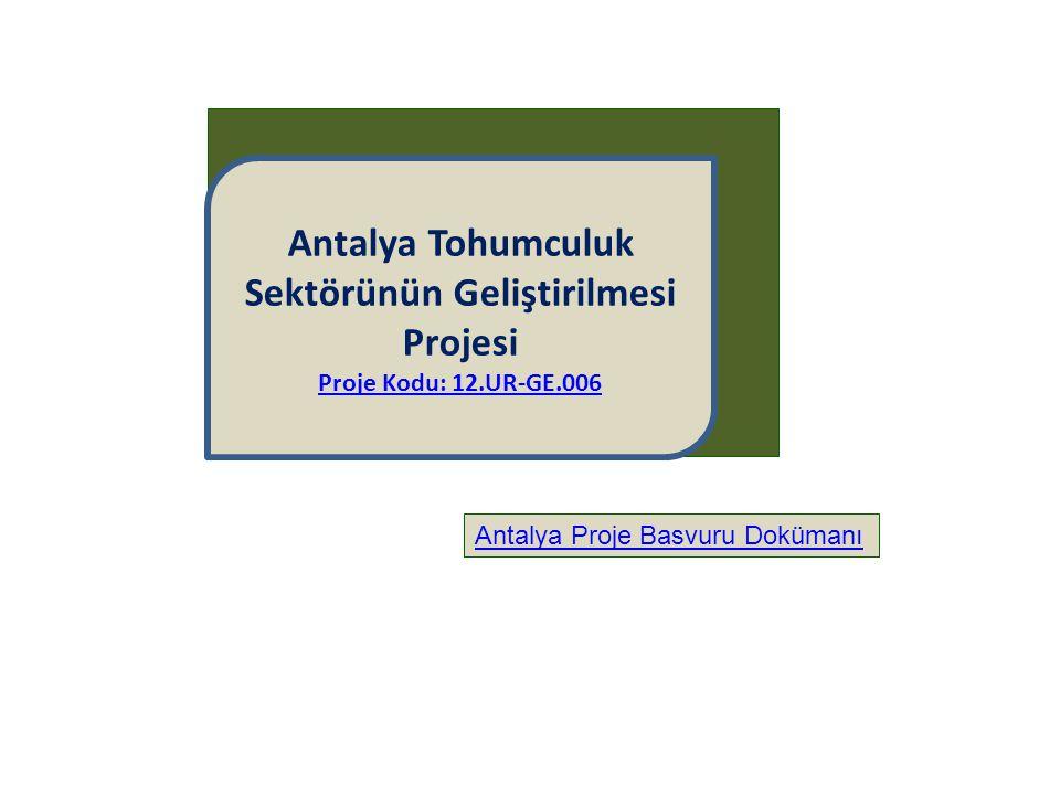 Antalya Tohumculuk Sektörünün Geliştirilmesi Projesi Proje Kodu: 12.UR-GE.006 Antalya Proje Basvuru Dokümanı