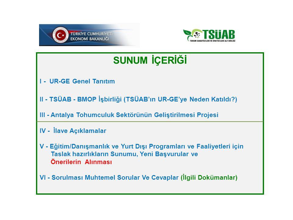SUNUM İÇERİĞİ I - UR-GE Genel Tanıtım II - TSÜAB - BMOP İşbirliği (TSÜAB'ın UR-GE'ye Neden Katıldı?) III - Antalya Tohumculuk Sektörünün Geliştirilmes