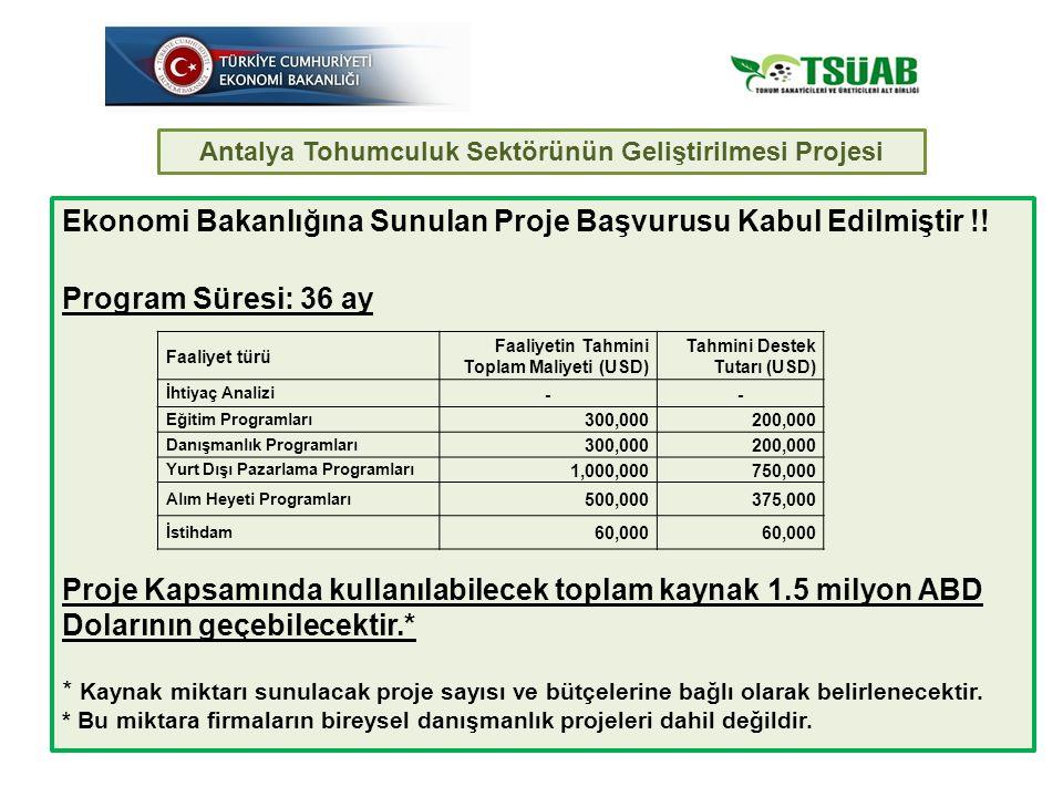 Antalya Tohumculuk Sektörünün Geliştirilmesi Projesi Ekonomi Bakanlığına Sunulan Proje Başvurusu Kabul Edilmiştir !.