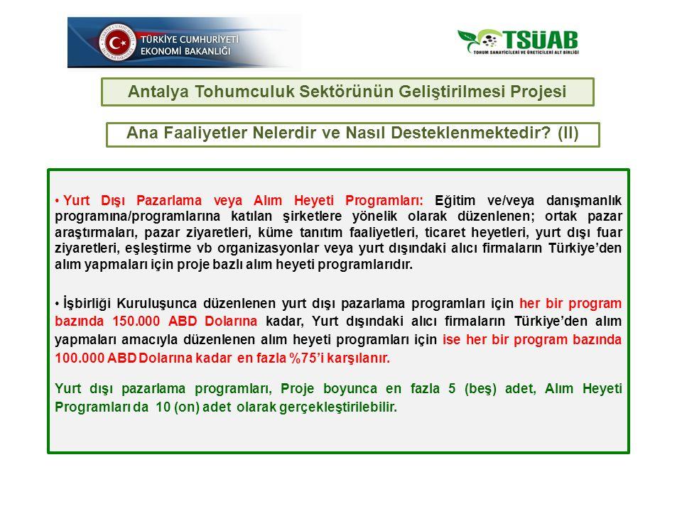 Yurt Dışı Pazarlama veya Alım Heyeti Programları: Eğitim ve/veya danışmanlık programına/programlarına katılan şirketlere yönelik olarak düzenlenen; ortak pazar araştırmaları, pazar ziyaretleri, küme tanıtım faaliyetleri, ticaret heyetleri, yurt dışı fuar ziyaretleri, eşleştirme vb organizasyonlar veya yurt dışındaki alıcı firmaların Türkiye'den alım yapmaları için proje bazlı alım heyeti programlarıdır.